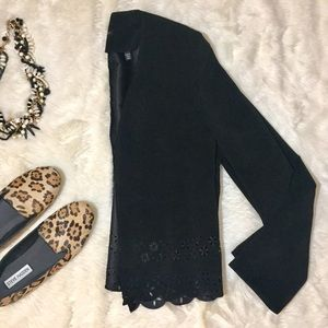 Bloomingdales & Tahari Black Suede Cutout Blazer